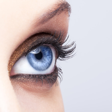 blue eyes girl: Close-up shot of female eye make-up in smoky eyes style Stock Photo
