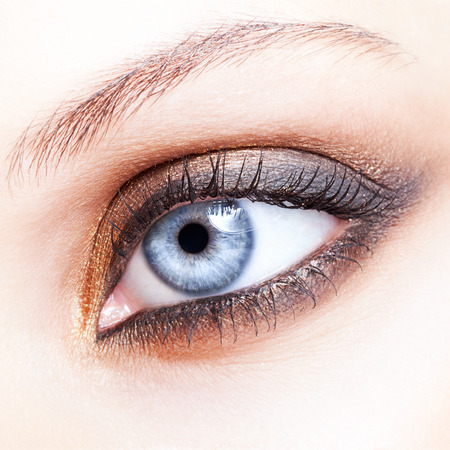 Close-up shot of female eye make-up in smoky eyes style Stock Photo