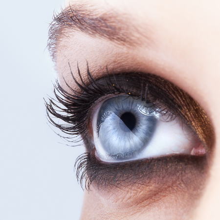 smoky eyes: Close-up shot of female eye make-up in smoky eyes style Archivio Fotografico