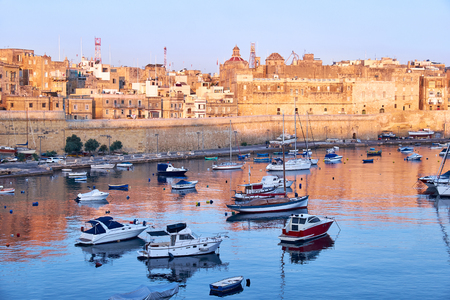 armlet: View on Malta bay between Kalkara and Birgu with yahts at early morning Stock Photo