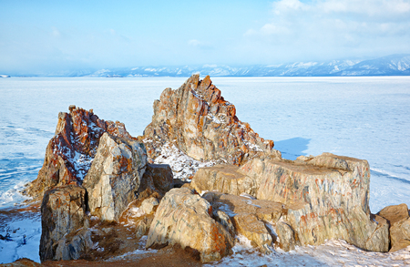 baical: Rock Shamanka on cape Burkhan on Olkhon island in Siberian lake Baikal in winter time