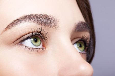 Primer disparo del color pistacho verde ojo femenino con maquillaje día Foto de archivo - 46391743