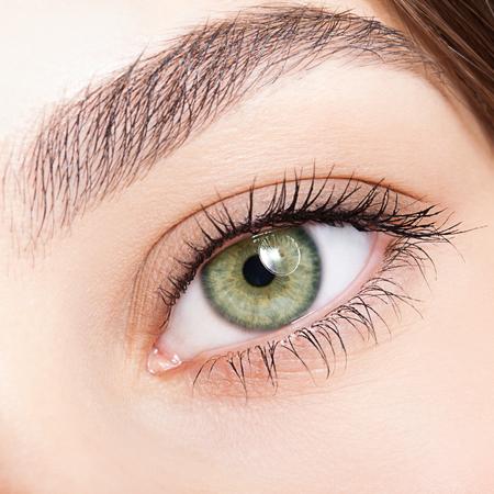 女性の緑のピスタチオのクローズ アップ ショットのカラーを日のメイクと目 写真素材