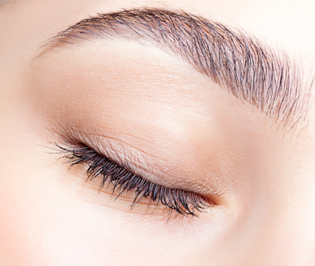 eye lashes: Closeup shot of female closed eye and brows with day makeup