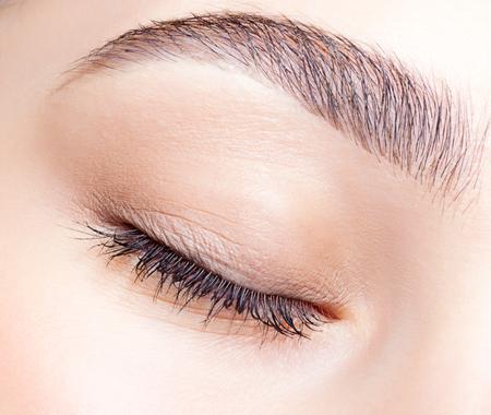 ojos: El primer tiró de mujer cerró los ojos y cejas con maquillaje de día Foto de archivo