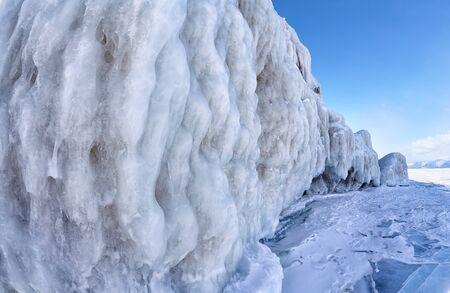 baical: Rocks covered by ice on winter siberian Baikail lake