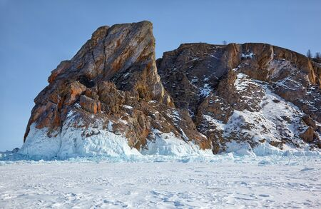 baical: Winter siberian landscape with view on Hoboi cape - the nortern part of  Olkhon island on Baikal lake
