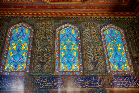 ligature: ISTANBUL, TURKEY - JULY 12, 2014: Staned glass windows with the oriental  ornament in Harem of Topkapi Palace, Istanbul, Turkey