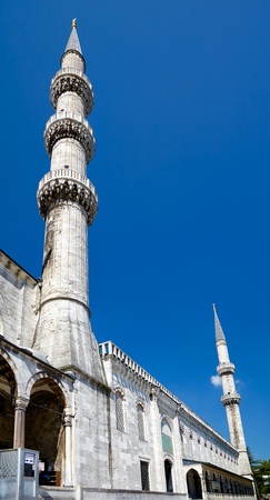 blue mosque: Two minarets of Sultan Ahmed Blue Mosque. Istanbul, Turkey.