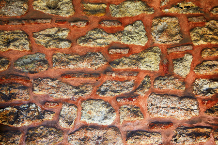 granite wall: The sample of granite masonry with red mortar wall, Topkapi Palace, Istanbul, Turkey, stonework, interlayer,