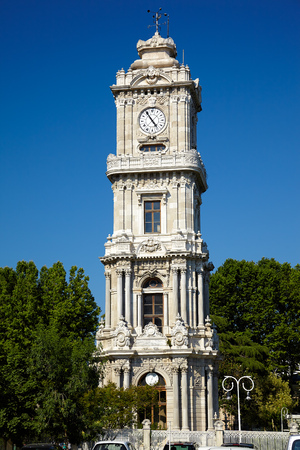 lofty: The clock tower Dolmabahce Dolmabahce Saat Kulesi lockated in Besiktas historic centre near Bosphorus, Istanbul, Turkey