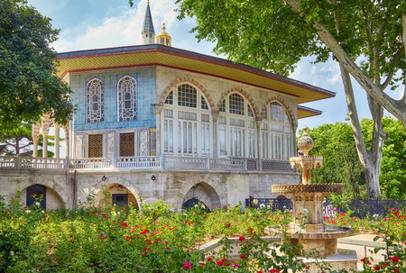 blue roses: The rose garden with fountain in Fourth courtyard of Topkapi Palace in front of the Baghdad Kiosk, Istanbul, Turkey