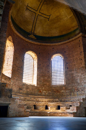 ancient near east: ISTANBUL, TURKEY - JULY 12, 2014:  The apse altar in the interior of Hagia Irene church, Istanbul, Turkey