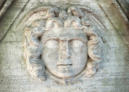 ancient near east: The Mask of Medusa the Gorgon on the sarcophagus in the courtyard of the Archaeological Museum, Istanbul, Turkey