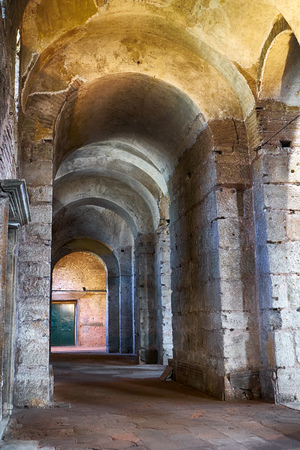 ancient near east: ISTANBUL, TURKEY - JULY 12, 2014: The interior of Hagia Irene Saint Irene. Hagia Irene, the former Eastern Orthodox church located in the outer courtyard of Topkap Palace in Istanbul, Turkey.