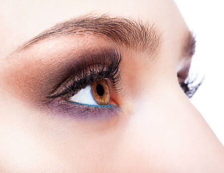 eyelash: Closeup shot of female eye with day makeup in aqua Limpet Shell color eye shadows and Snorkel Blue colour liner