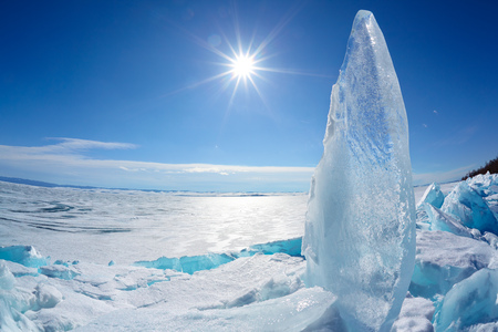 floe: Ice floe and sun over winter Baikal lake Stock Photo