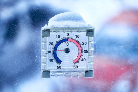 celsius: Thermometer out the window at minus 28 degrees centigrade