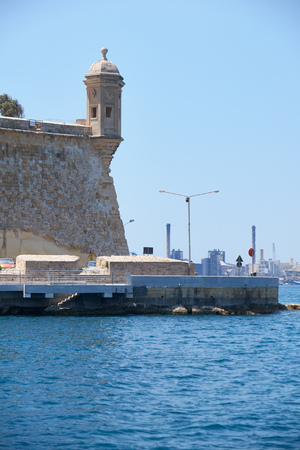 The view of the end of Senglea peninsula  with the Guard tower on the tip of the bastions. Malta.