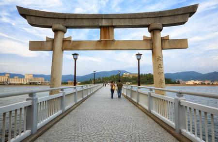 Bridge from Take Island to Gamagori, Aichi prefecture, Japan Stock Photo