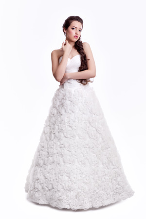 Portrait Of Beautiful Young Brunette Woman Bride In White Wedding ...