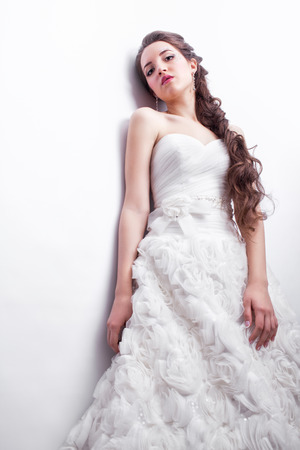 Portrait Of Beautiful Young Woman Bride In White Wedding Dress ...