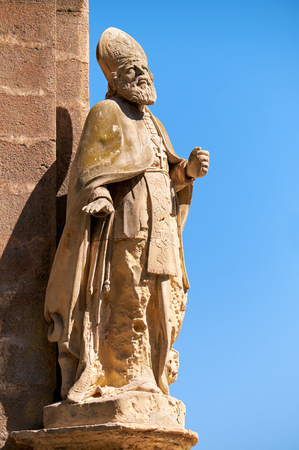 contrasty: The statue of the Saint Publius,  the first Bishop of Malta, on the corner of the Customs House at Lascaris Shore. The St. Publius received the Apostle Paul during his shipwreck on the island.