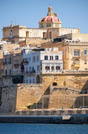 philips: The view of Senglea (L-isla) peninsula  with the  dome of St. Philips Chapel. Malta