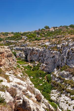 south coast: Wied Babu depression on south coast of Malta island