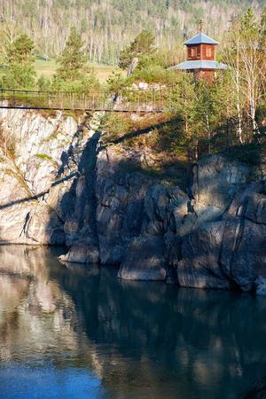 hinged: Hinged bridge to the monastery of Ioan Bogoslov on Patmos island on river Katun in Chemal, Altai, Siberia, Russia