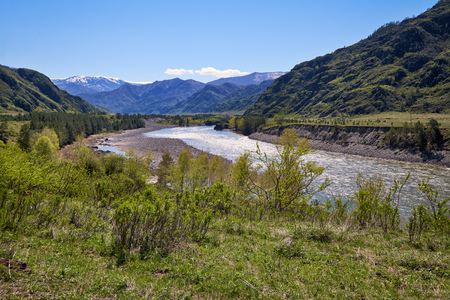chemal: River Katun surrounded by mountains near Chemal village, Altai, Russia