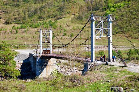 katun: Oroktoi bridge over Altai river Katun, Siberia, Russia Stock Photo