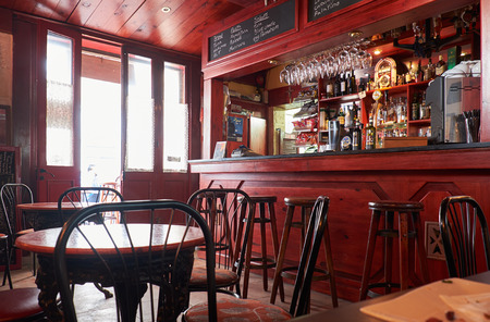 public house: Valletta, MALTA - JULY 25, 2015: A cosy interior of a cafe on the Lvant street near the Lower Barrakka Gardens, Valletta, Malta