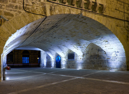 tunnel view: Valletta, MALTA - JULY 28, 2015: The night view of tunnel connecting Lascaris Wharf and Vallettas ditch with the lift to the Upper Barrakka Gardens, Valletta Editorial