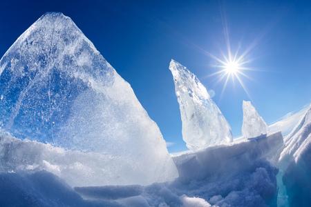 Ice floe and sun over winter Baikal lake Stock Photo