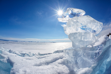 ice floe: Ice floe crystals and sun over winter Baikal lake Stock Photo