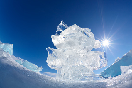 floe: Ice floe crystal and sun over winter Baikal lake Stock Photo