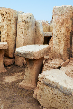 megaliths: The stone furniture (tables and benches) in the chamber of megalithic temple of Hagar Qim, Malta