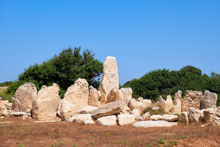 megaliths: The prehistoric ruins of the Primitive temple in megalithic complex of Hagar Qim, Malta