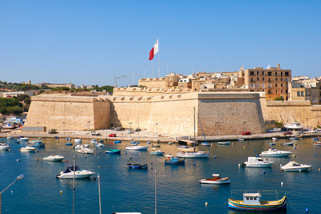 enceinte: The view of Post of Castile from Kalkara over the Kalkara creek with the yachts and boats moored in the harbor.