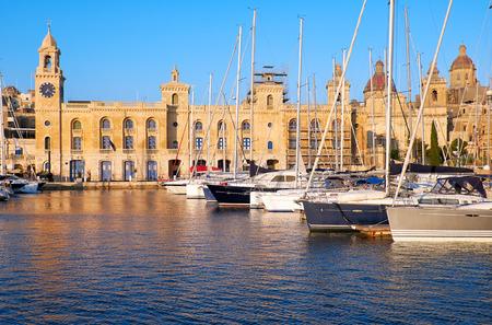 dockyard: The yachts and boats moored in the harbor in Dockyard creek in front of Malta Maritime Museum. Birgu, Malta.
