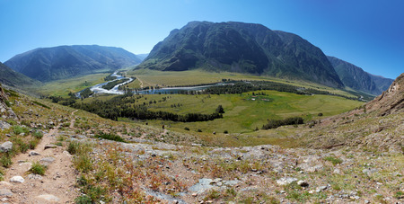 Panorama of the valley of Altai river Chulyshman from the slope of mount. Siberia, Russia