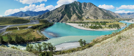 confluence: Panorama of place of the confluence of the rivers Katun and Chuya in Altai mountains. Siberia, Russia