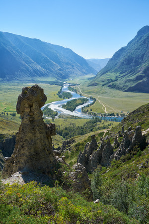 Nature phenomenon and nature miracle Stone Mushrooms rocks in Altai mountains and river Chulyshman. Siberia, Russia