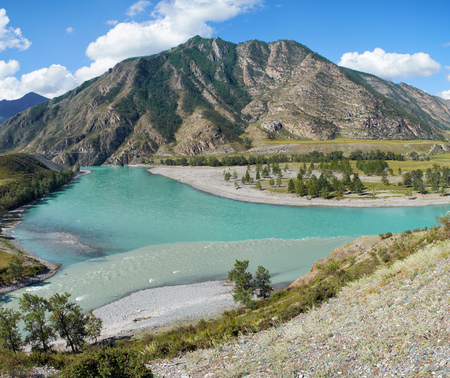 confluence: Place of the confluence of the rivers Katun and Chuya in Altai mountains. Siberia, Russia