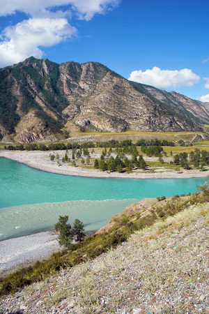 katun: Place of the confluence of the rivers Katun and Chuya in Altai mountains. Siberia, Russia