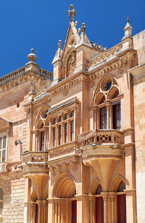 pawl: Mdina, MALTA � JULY 29: The Baroque style facade of the austere Bishop�s Palace on the Pjazza San Pawl in Mdina. Malta Editorial