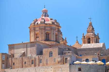 The view of St. Pauls Cathedral in Mdina, Malta Stock Photo