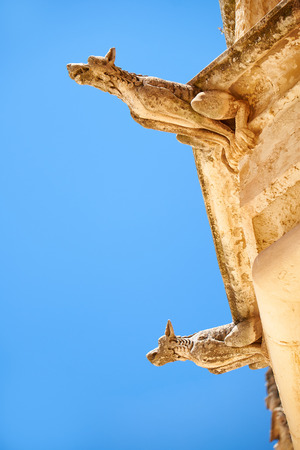 pawl: A grotesque  style figures of chimeras on the facade of the Bishop�s Palace on the Pjazza San Pawl in Mdina. Malta Editorial