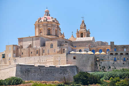 st   pauls cathedral: The view of St. Pauls Cathedral in Mdina, Malta Stock Photo